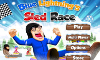 Playing Blue Lightnings Sled Race: Blue Lightnings Sled Race   Downhill Racing Game In The Snowy Mountain