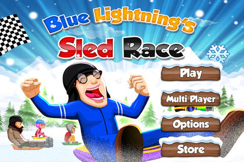 Blue Lightnings Sled Race - Downhill racing game in the snowy mountain