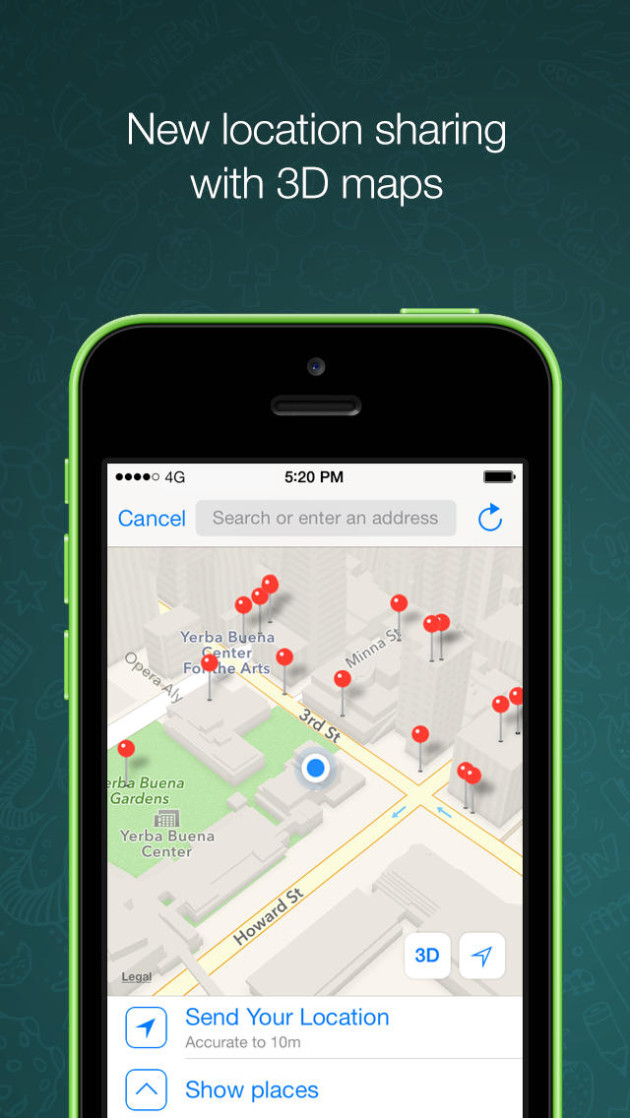 WhatsApp Messenger Maps for iphone